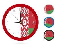 Σχέδιο ρολογιών τοίχων με τη εθνική σημαία της Λευκορωσίας Διαφορετικό σχέδιο τέσσερα διανυσματική απεικόνιση
