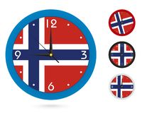 Σχέδιο ρολογιών τοίχων με τη εθνική σημαία της Νορβηγίας Διαφορετικό σχέδιο τέσσερα διανυσματική απεικόνιση