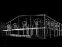 Σχέδιο σκίτσων του σπιτιού, τρισδιάστατο Στοκ φωτογραφία με δικαίωμα ελεύθερης χρήσης
