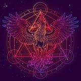 Σχέδιο σκίτσων του Phoenix και του αστεριού του Δαβίδ που απομονώνεται στο κατασκευασμένο υπόβαθρο watercolor απεικόνιση αποθεμάτων