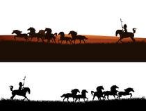 Σχέδιο σκιαγραφιών προϊσταμένων αμερικανών ιθαγενών και αλόγων μάστανγκ Στοκ φωτογραφίες με δικαίωμα ελεύθερης χρήσης