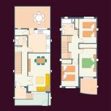 Σχέδιο σπιτιών με τα έπιπλα και άλλα στοιχεία ελεύθερη απεικόνιση δικαιώματος