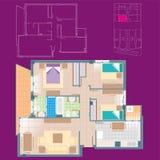 Σχέδιο σπιτιών με τα σκιαγραφημένα έπιπλα και τη διανομή ελεύθερη απεικόνιση δικαιώματος