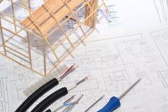 Σχέδιο σπιτιών σύνδεση ηλεκτρική Στοκ φωτογραφία με δικαίωμα ελεύθερης χρήσης