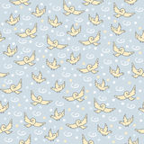 Σχέδιο σπουργιτιών Χαριτωμένο άνευ ραφής σχέδιο με τα μικρά πουλιά στο μπλε υπόβαθρο Στοκ Εικόνα