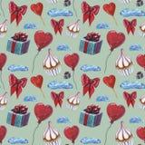 Σχέδιο στοιχείων αγάπης Σχέδιο αγάπης και προτύπων γλυκών Μόριο σχεδίων Watercolor cupcake, κόκκινη καρδιά lolipop, καρδιά που δι διανυσματική απεικόνιση