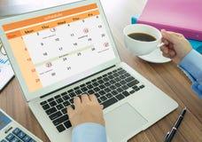 Σχέδιο στο ημερολόγιο ως υπενθυμίσεις Στοκ Εικόνες