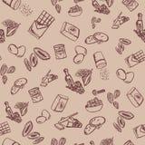 Σχέδιο συστατικών μπισκότων στο μπεζ υπόβαθρο με τα βερίκοκα και τα αμύγδαλα Στοκ Φωτογραφίες