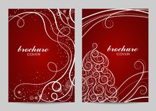 Σχέδιο σχεδιαγράμματος προτύπων φυλλάδιων Όμορφο χειμερινό σχέδιο στο κόκκινο υπόβαθρο στοκ φωτογραφία