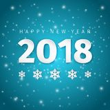 Σχέδιο τέχνης εγγράφου καλής χρονιάς 2018 με τις σκιές και snowflakes στο λαμπρό σκούρο μπλε υπόβαθρο χειμερινού νυχτερινού ουραν απεικόνιση αποθεμάτων