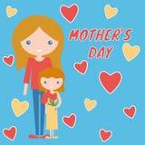 Σχέδιο τέχνης ημέρας μητέρων mom και κόρη με τα λουλούδια Στοκ Εικόνες