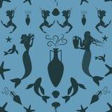 Σχέδιο της αρχαία γοργόνας και triton της Ελλάδας που φέρνουν έναν αμφορέα Στοκ Εικόνα