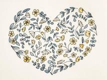 Σχέδιο της καρδιάς από τα λουλούδια στο ύφος κινούμενων σχεδίων στοκ εικόνα