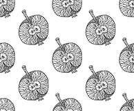 Σχέδιο της Apple zentangle για την τυπωμένη ύλη ή το σχέδιο Διανυσματική απεικόνιση, μαύρη στο λευκό απεικόνιση αποθεμάτων