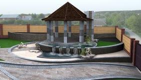 Σχέδιο τοπίων κτημάτων αρχιτεκτονικής προαστίου, τρισδιάστατη απόδοση Στοκ Εικόνα