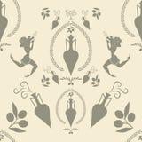 Σχέδιο του αμφορέα αρχαίου Έλληνα, των κοριτσιών και των συμβόλων ελαιολάδου Στοκ Εικόνες