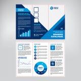 Σχέδιο του καταλόγου, βιβλιάριο, φυλλάδιο, δημιουργικό γεωμετρικό μπλε υπόβαθρο, σύγχρονη επιχειρησιακή έννοια με τα στοιχεία του ελεύθερη απεικόνιση δικαιώματος