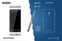 Σχέδιο του smartphone περιλήψεων Βιομηχανικό σχεδιάγραμμα Τηλεφωνικές απόψεις: πλευρά, μέτωπο, πλάτη Τηλέφωνο αφής με τη κάμερα Στοκ φωτογραφίες με δικαίωμα ελεύθερης χρήσης