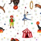 Σχέδιο τσίρκων, ελέφαντας, σφραγίδα, τίγρη, σκηνή, κλόουν, φυσαλίδες σαπουνιών και ακροβάτης Απεικόνιση Watercolor στο λευκό απεικόνιση αποθεμάτων