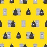 Σχέδιο τσαντών Trashcan και απορριμάτων άνευ ραφής Δοχείο απορριμμάτων και μαύρο υπόβαθρο σάκων Σκουπίδια ormanent o διανυσματική απεικόνιση