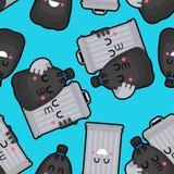 Σχέδιο τσαντών Trashcan και απορριμάτων άνευ ραφής Δοχείο απορριμμάτων και μαύρο υπόβαθρο σάκων Σκουπίδια ormanent o ελεύθερη απεικόνιση δικαιώματος