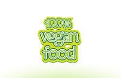 σχέδιο τυπογραφίας εικονιδίων λογότυπων κειμένων λέξης τροφίμων 100% vegan Στοκ Φωτογραφίες