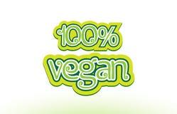σχέδιο τυπογραφίας εικονιδίων λογότυπων κειμένων λέξης 100% vegan Στοκ Εικόνες