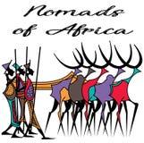 Σχέδιο των νομαδικών αφρικανικών ανθρώπων στις παραδοσιακές εξαρτήσεις και τα χρώματα Στοκ εικόνα με δικαίωμα ελεύθερης χρήσης
