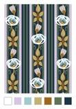 Σχέδιο των τυποποιημένων ροδαλών ισχίων και των λωρίδων Κατακόρυφος που επαναλαμβάνει τη floral διακόσμηση στο ύφος nouveau τέχνη διανυσματική απεικόνιση