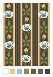 Σχέδιο των τυποποιημένων ροδαλών ισχίων και των λωρίδων Κατακόρυφος που επαναλαμβάνει τη floral διακόσμηση στο ύφος nouveau τέχνη απεικόνιση αποθεμάτων
