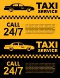 Σχέδιο υπηρεσιών ταξί πέρα από το κίτρινο και μαύρο υπόβαθρο Σκιαγραφία του αυτοκινήτου Στοκ Εικόνες