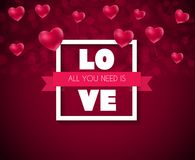 Σχέδιο υποβάθρου αγάπης και συναισθημάτων καρδιών ημέρας βαλεντίνων ` s επίσης corel σύρετε το διάνυσμα απεικόνισης Στοκ Εικόνα