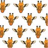 Σχέδιο υποβάθρου με ζωηρόχρωμο συρμένο χέρι giraffe Ελεύθερη απεικόνιση δικαιώματος