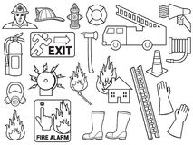 Σχέδιο υποβάθρου με τα εικονίδια πυροσβεστών ελεύθερη απεικόνιση δικαιώματος
