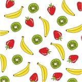 Σχέδιο υποβάθρου με τις μπανάνες, το ακτινίδιο και τη φράουλα Διανυσματική απεικόνιση