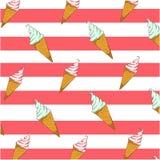 Σχέδιο υποβάθρου με το παγωτό και τις κόκκινες λουρίδες Ελεύθερη απεικόνιση δικαιώματος