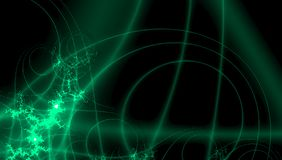 Σχέδιο φαντασίας για το σχέδιο διακοσμήσεων Ψηφιακό σχέδιο τεχνολογίας πράσινα fractals νέου στο μαύρο υπόβαθρο απεικόνιση αποθεμάτων