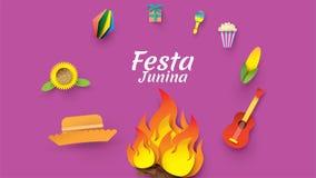Σχέδιο φεστιβάλ Junina Festa στην τέχνη εγγράφου και το επίπεδο ύφος με τις σημαίες κόμματος, φανάρι εγγράφου, κιθάρα, ηλίανθος,  απεικόνιση αποθεμάτων