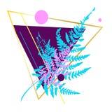Σχέδιο φιαγμένο από τρίγωνα και φτέρη Στοκ φωτογραφία με δικαίωμα ελεύθερης χρήσης