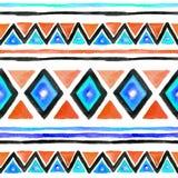 σχέδιο φυλετικό Άνευ ραφής υπόβαθρο με το φυλετικό σχέδιο στο ύφος boho watercolor Στοκ Εικόνες