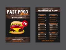 Σχέδιο φυλλάδιων επιλογών σοφιτών γρήγορου φαγητού στο ξύλινο διανυσματικό πρότυπο υποβάθρου στο μέγεθος A4 ιπτάμενο, baner και σ απεικόνιση αποθεμάτων