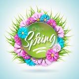 Σχέδιο φύσης άνοιξη με το όμορφο ζωηρόχρωμο λουλούδι στο πράσινο υπόβαθρο χλόης Διανυσματικό floral πρότυπο σχεδίου με Στοκ Εικόνα