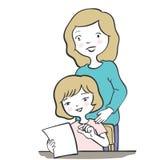 Σχέδιο χαρακτήρα μητέρων και κορών doodle ύφος-διανυσματικό διανυσματική απεικόνιση