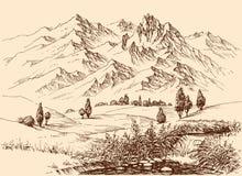 Σχέδιο χεριών πανοράματος βουνών διανυσματική απεικόνιση
