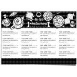 Σχέδιο χεριών σχεδίου προτύπων εστιατορίων τροφίμων επιλογών γραφικό Στοκ Εικόνα