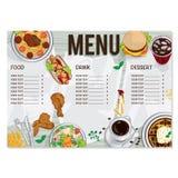 Σχέδιο χεριών σχεδίου προτύπων εστιατορίων τροφίμων επιλογών γραφικό Στοκ Φωτογραφίες