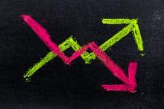 Σχέδιο χεριών της πράσινης και κόκκινης κιμωλίας μέσα πάνω-κάτω τη μορφή βελών στοκ εικόνα