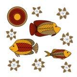 Σχέδιο χεριών - ψάρια, φύκι ελεύθερη απεικόνιση δικαιώματος