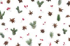 Σχέδιο Χριστουγέννων με τα αστέρια, τα κόκκινα μούρα, τους πράσινους κλαδίσκους και το γλυκάνισο στοκ εικόνα με δικαίωμα ελεύθερης χρήσης