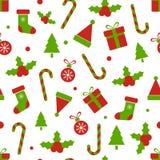 Σχέδιο Χριστουγέννων με τα μούρα ελαιόπρινου, σφαίρες, κιβώτια δώρων, κάλαμος καραμελών, κουδούνι, δέντρο, snowflakes Χαρούμενα Χ απεικόνιση αποθεμάτων